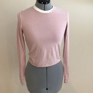 Light pink and white striped long sleeve crop top